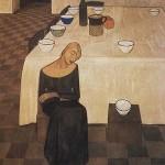 L'attesa, tempera su tela di Felice Casorati ( Novara 1883 – Torino 1963)
